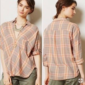Anthropologie Holding Horses Draped Plaid Top